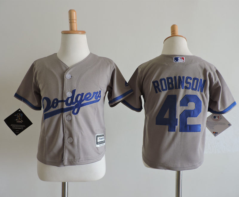 Dodgers 42 Jackie Robinson Gray Toddler Cool Base Jersey
