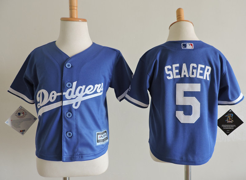 Dodgers 5 Corey Seager Blue Toddler Cool Base Jersey