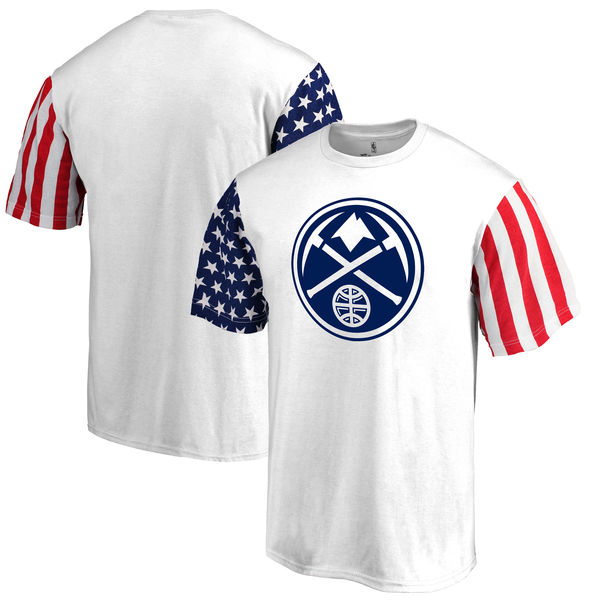 Denver Nuggets Fanatics Branded Stars & Stripes T-Shirt White