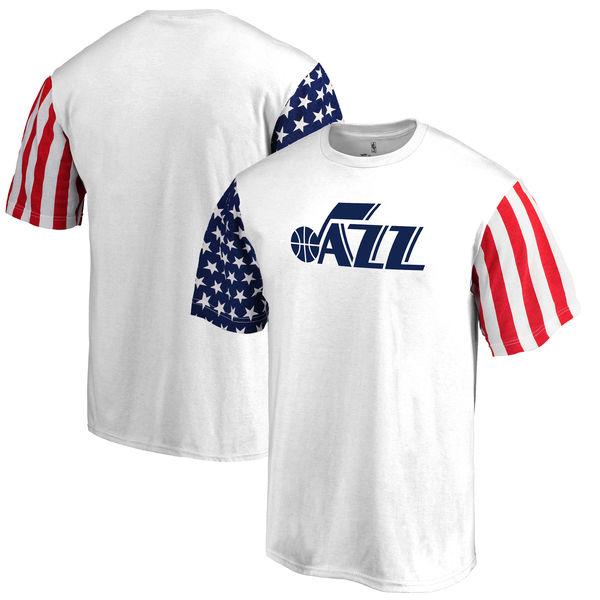 Utah Jazz Fanatics Branded Stars & Stripes T-Shirt White