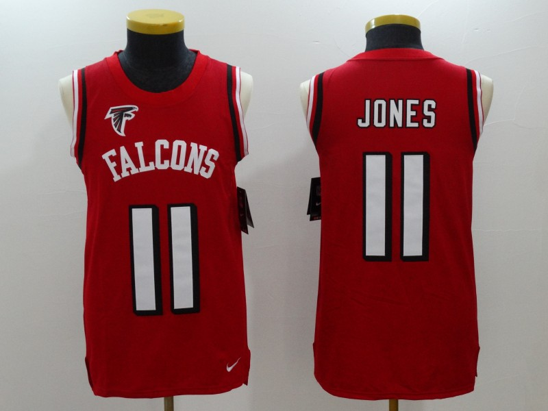 Nike Falcons 11 Julio Jones Red Color Rush Name & Number Tank Top