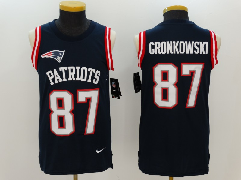Nike Patriots 87 Rob Gronkowski Navy Color Rush Name & Number Tank Top
