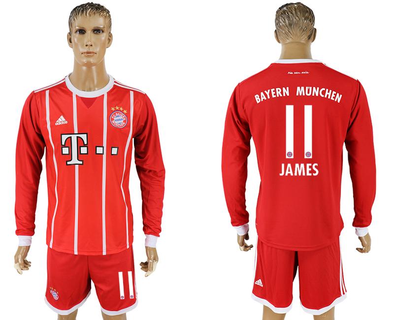 2017-18 Bayern Munich 11 JAMES Home Long Sleeve Soccer Jersey