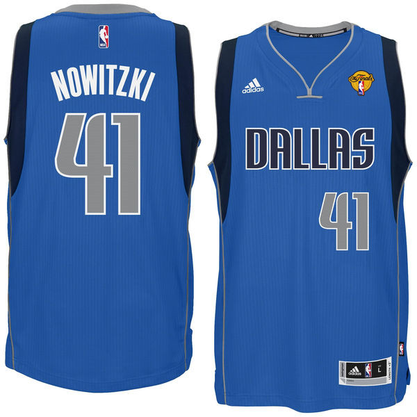 Mavericks 41 Dirk Nowitzki Blue 2016 NBA Finals Patch Swingman Jersey