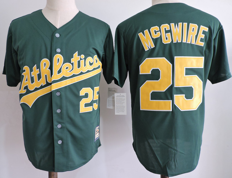 Athletics 25 Mark McGwire Green Cooperstown Collection Jersey