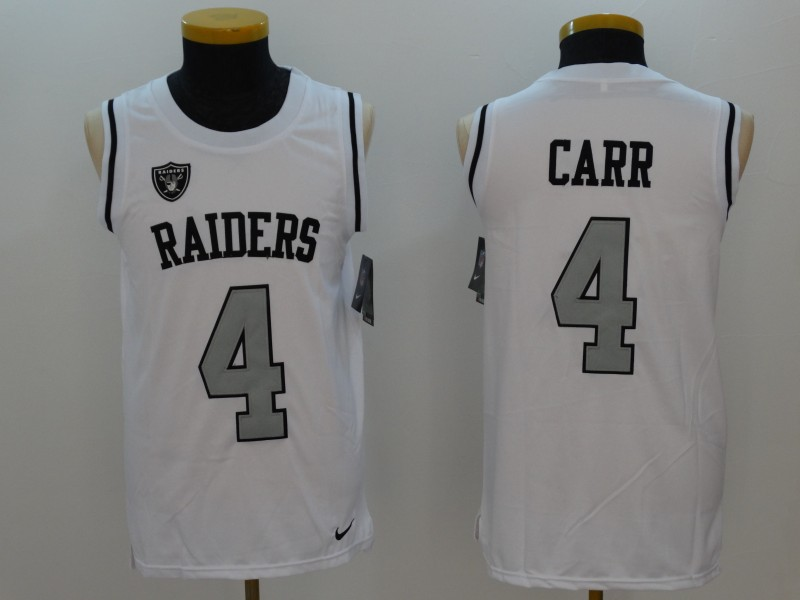 Raiders 4 Derek Carr White Color Rush Men's Tank Top