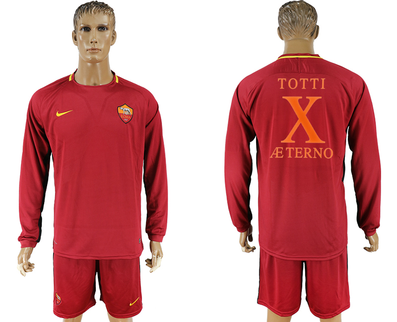 2017-18 Roma X TOTTI Retired Home Long Sleeve Soccer Jersey