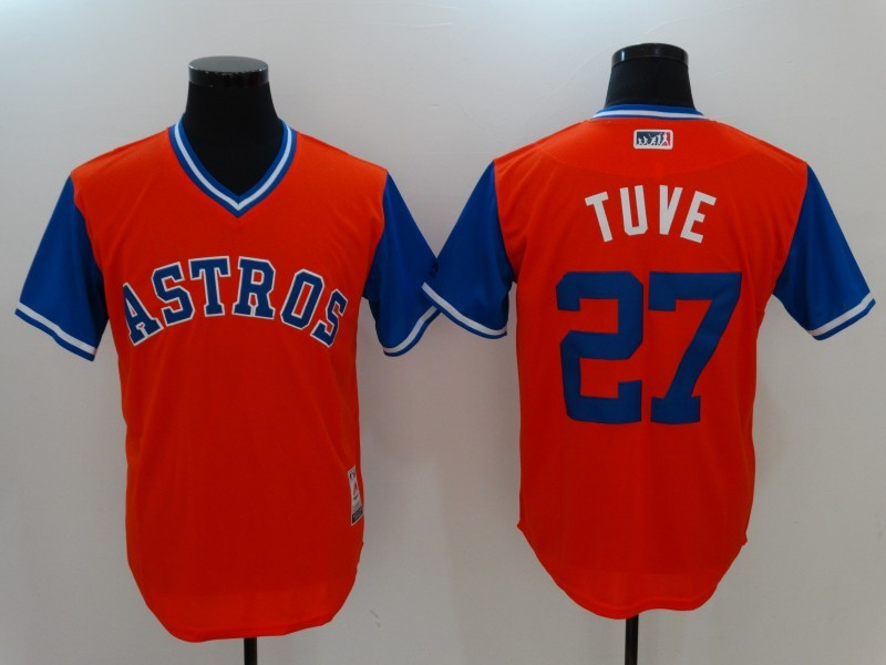 Astros 27 Jose Altuve Tuve Majestic Orange 2017 Players Weekend Jersey