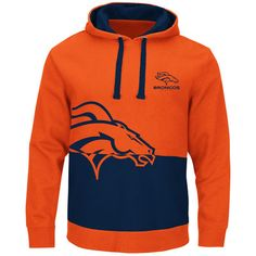 Denver Broncos Orange & Navy Split All Stitched Hooded Sweatshirt
