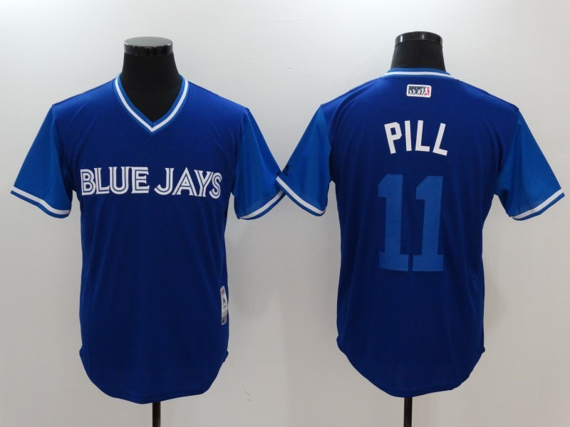 Blue Jays 11 Kevin Pillar Pill Majestic Royal 2017 Players Weekend Jersey
