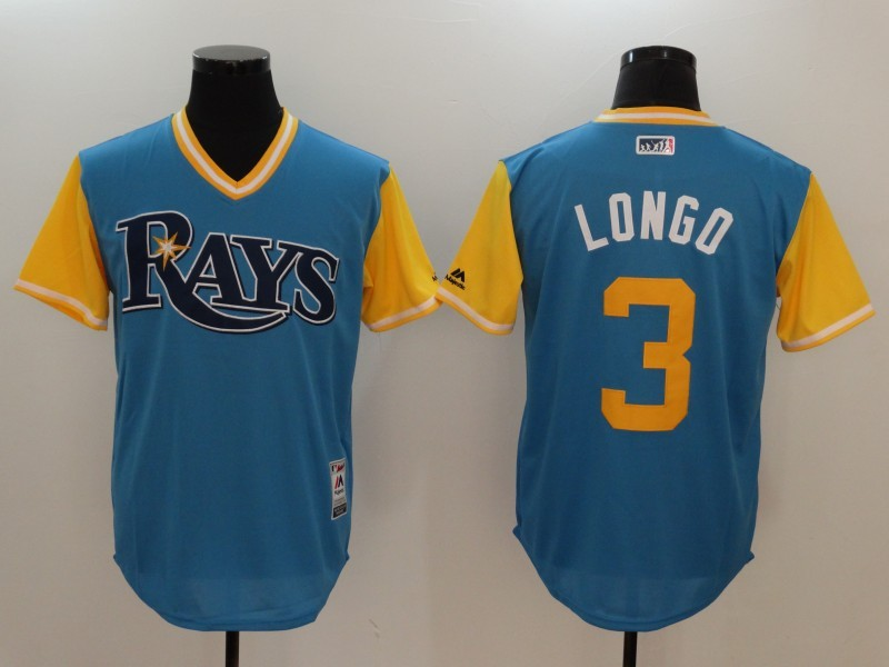 Rays 3 Evan Longoria Longo Majestic Light Blue 2017 Players Weekend Jersey