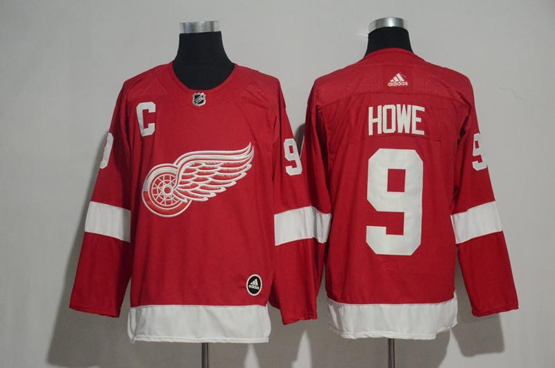Red Wings 9 Gordie Howe Red Adidas Jersey