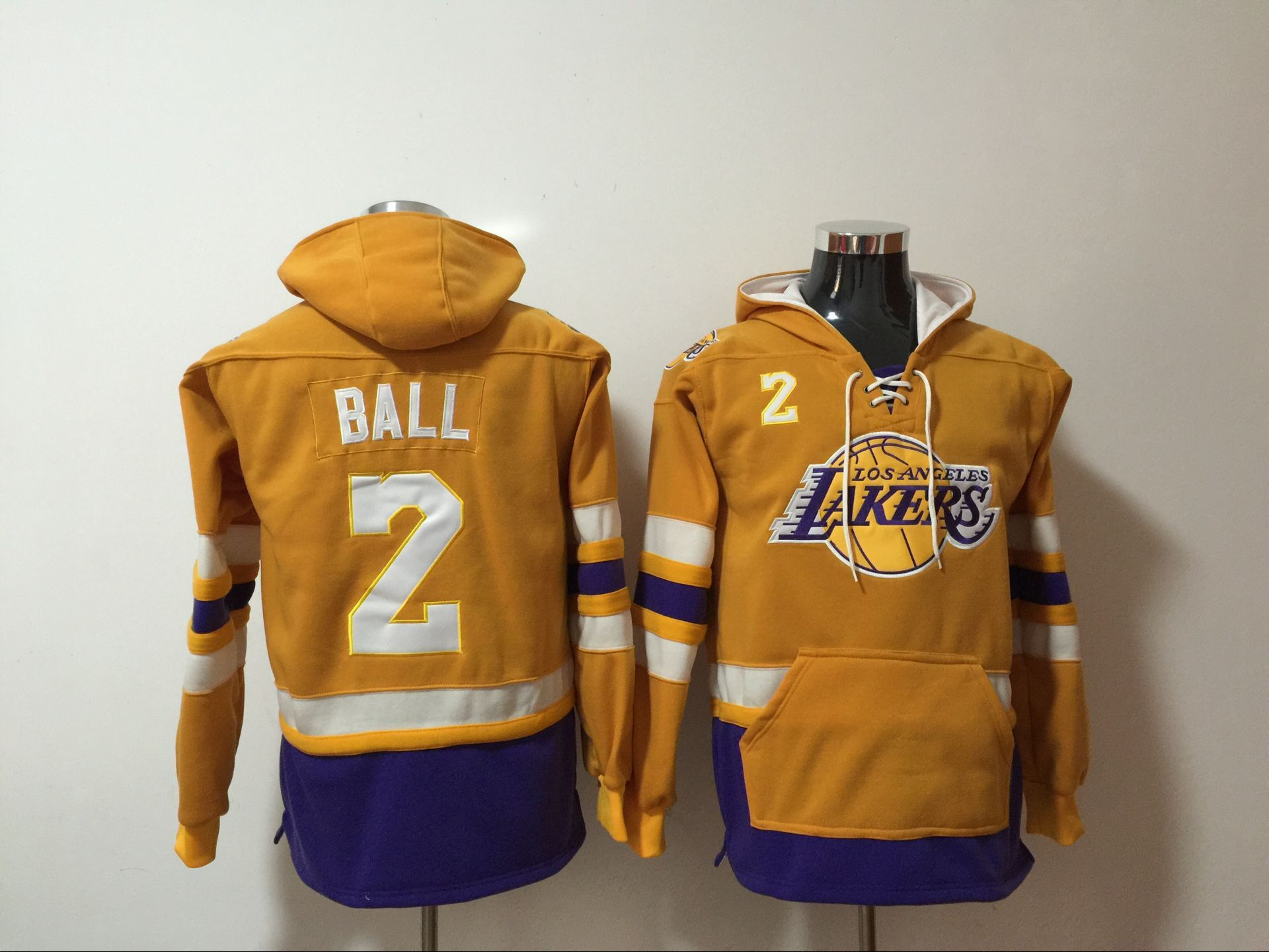 Los Angeles Lakers 2 Lonzo Ball Yellow All Stitched Hooded Sweatshirt