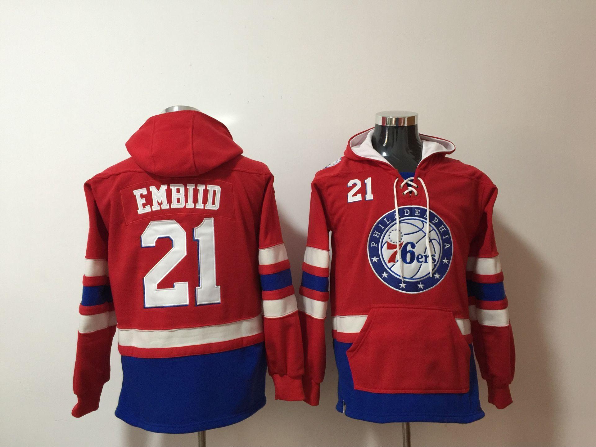Philadelphia 76ers 21 Joel Embiid Red All Stitched Hooded Sweatshirt