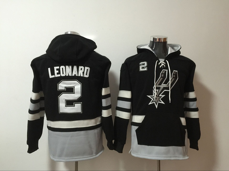 Spurs 2 Kawhi Leonard Black All Stitched Hooded Sweatshirt