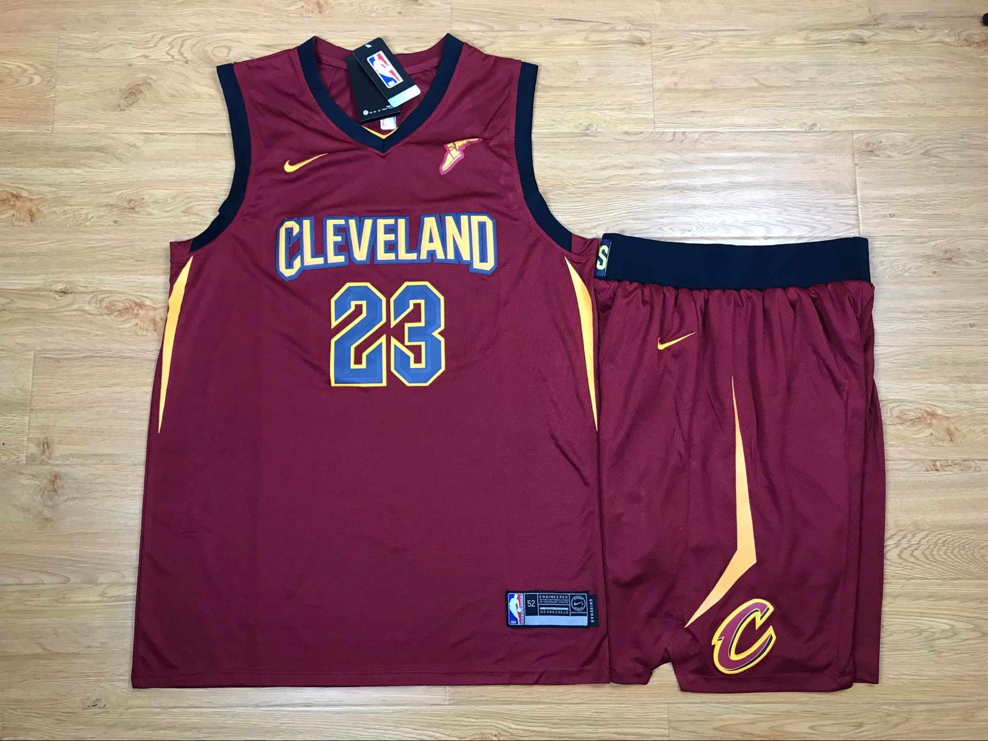 Cavaliers 23 Lebron James Red Nike Swingman Jersey(With Shorts)