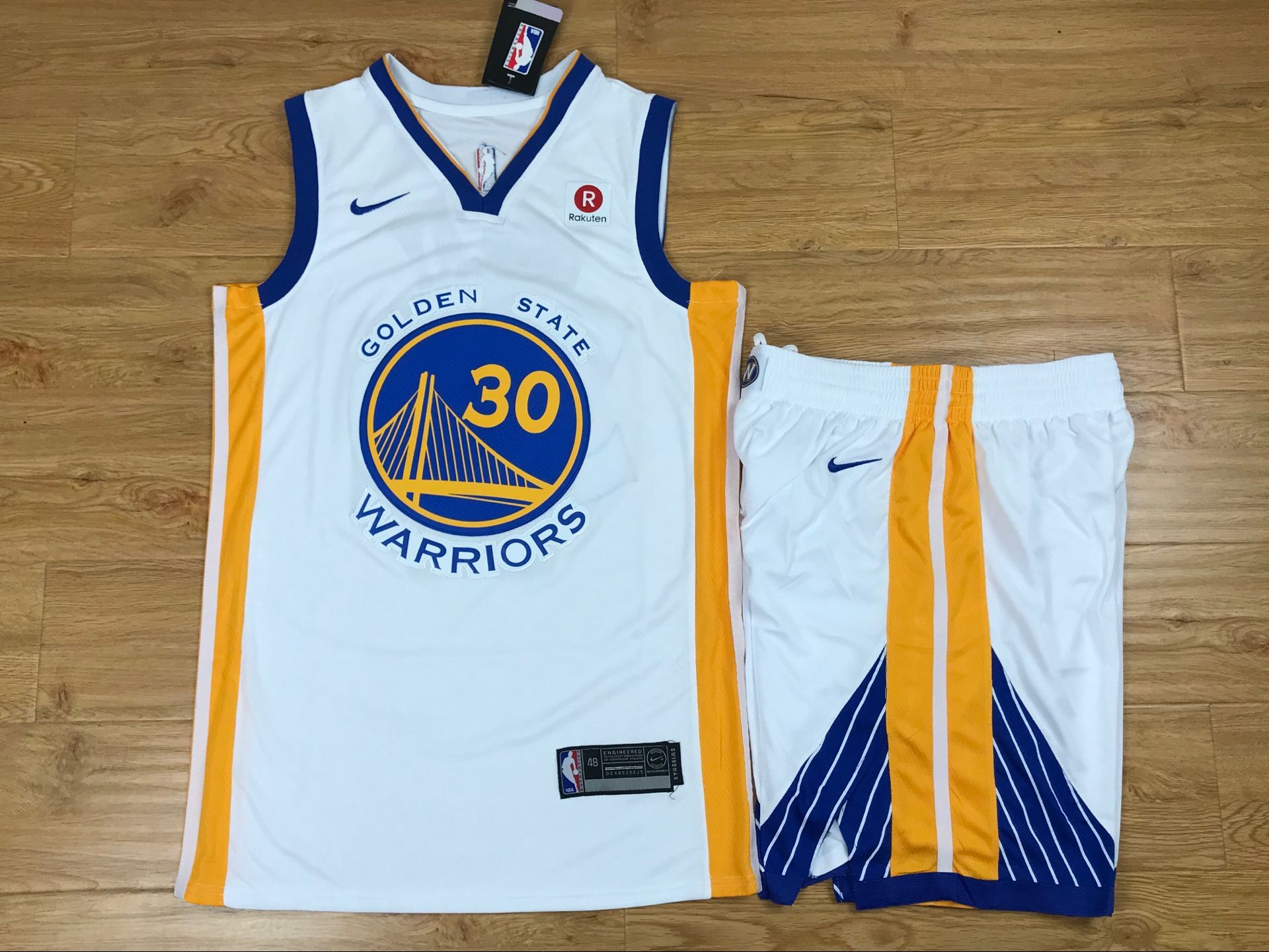 Warriors 30 Stephen Curry White Nike Swingman Jersey(With Shorts)
