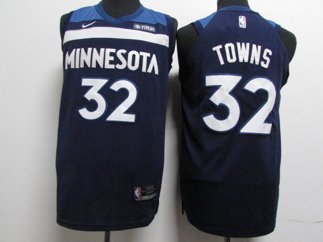 Timberwolves 32 Karl-Anthony Towns Navy Nike Authentic Jersey