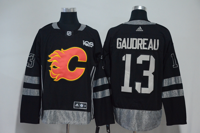 Flames 13 Johnny Gaudreau Black 1917-2017 100th Anniversary Adidas Jersey