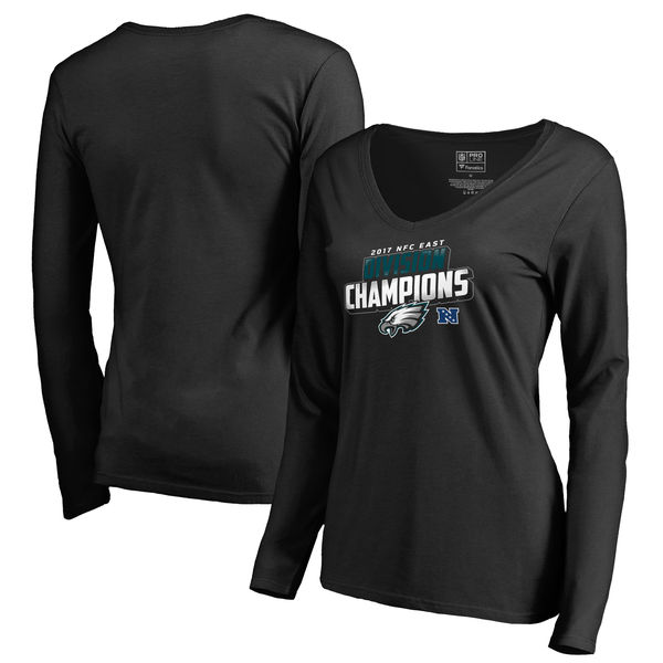 Philadelphia Eagles NFL Pro Line by Fanatics Branded Women's 2017 NFC East Division Champions Long Sleeve V Neck T Shirt Black