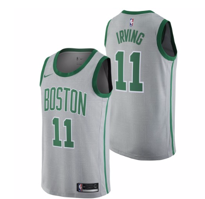 Celtics 11 Kyrie Irving Gray Nike City Edition Swingman Jersey