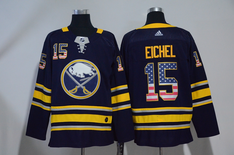 Sabres 15 Jack Eichel Navy USA Flag Adidas Jersey