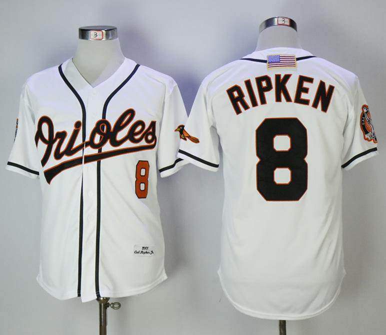 Orioles 8 Cal Ripken Jr White 2001 Mitchell & Ness Jersey