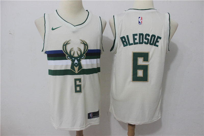 Bucks 6 Eric Bledsoe Cream Nike City Edition Swingman Jersey