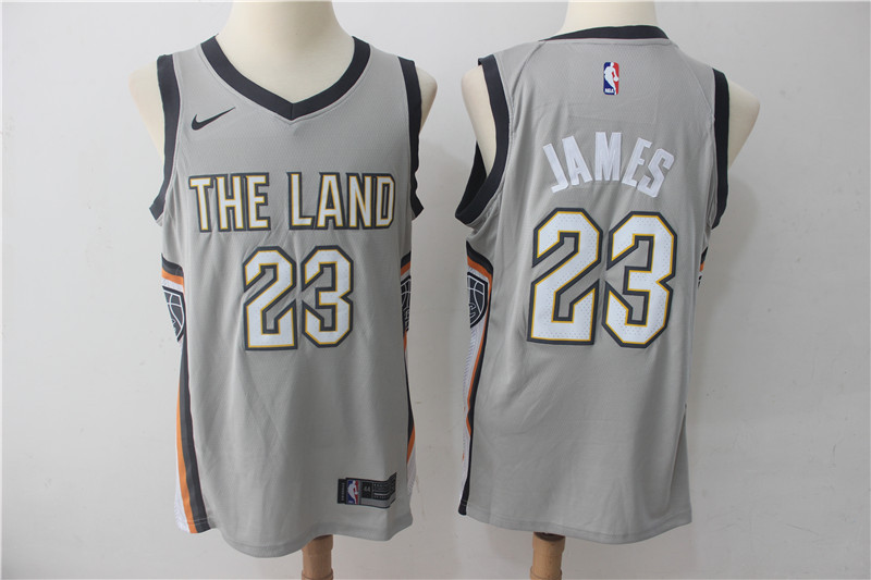 Cavaliers 23 LeBron James Gray Nike City Edition Swingman Jersey