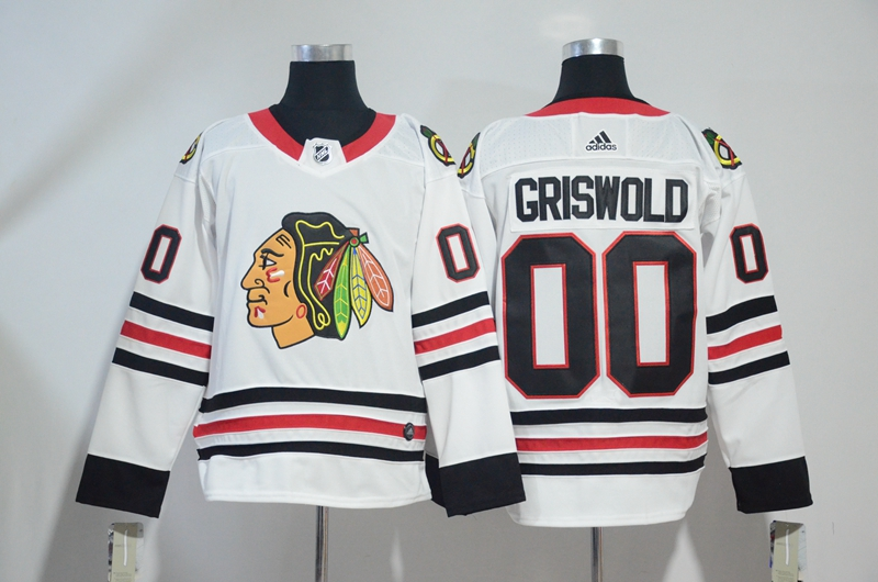 Blackhawks 00 Clark Griswold White Adidas Jersey