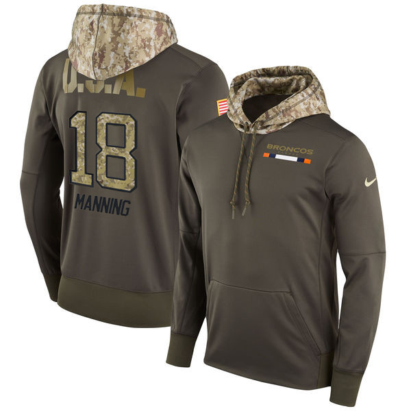 Nike Broncos 18 Peyton Manning Olive Salute To Service Pullover Hoodie