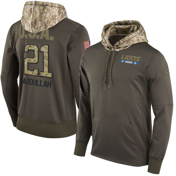 Nike Lions 21 Ameer Abdullah Olive Salute To Service Pullover Hoodie
