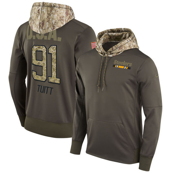 Nike Steelers 91 Stephon Tuitt Olive Salute To Service Pullover Hoodie