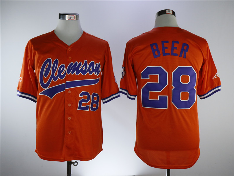 Clemson Tigers 28 Seth Beer Orange College Baseball Jersey