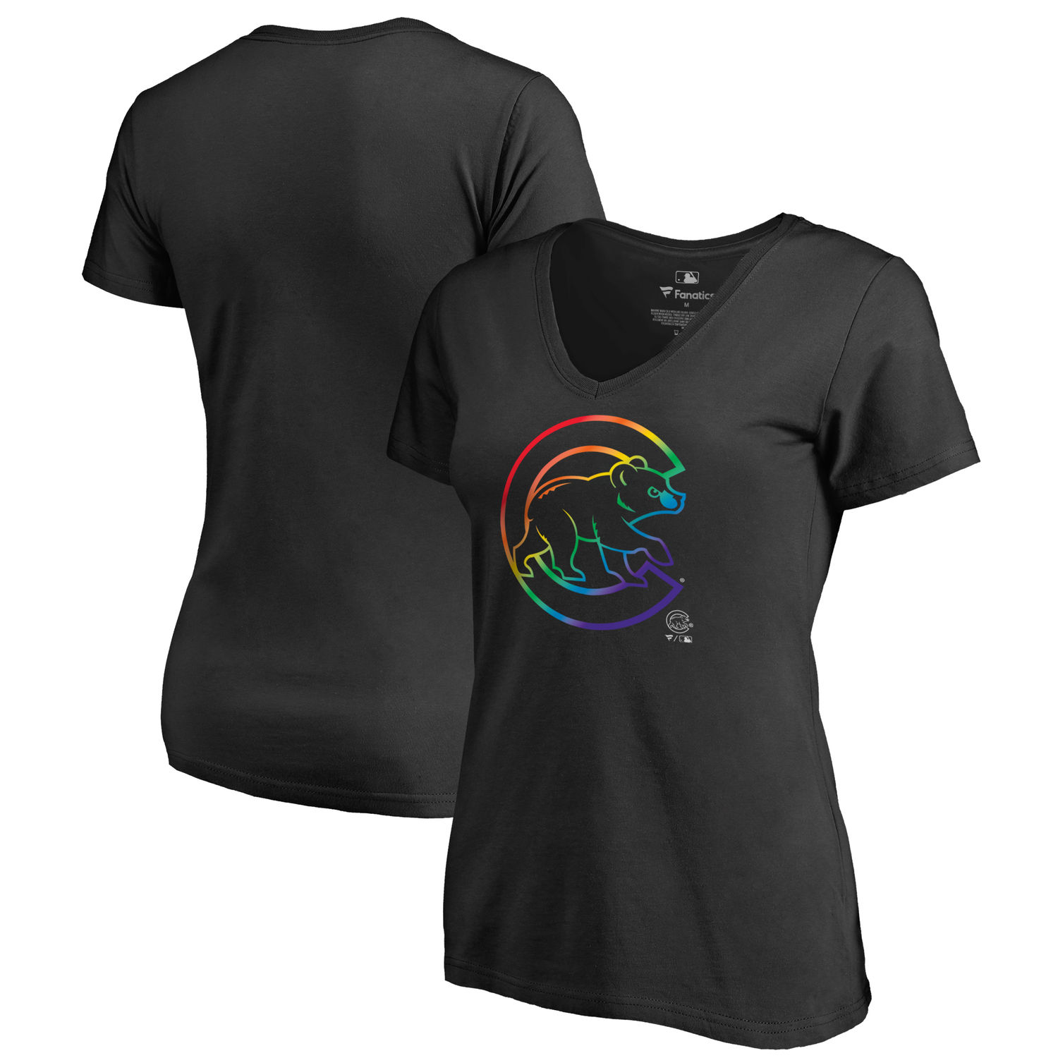Women's Chicago Cubs Fanatics Branded Pride Black T Shirt