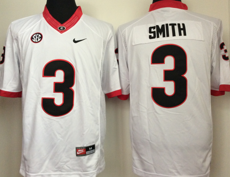 Georgia Bulldogs 3 Roquan Smith White College Football Jersey