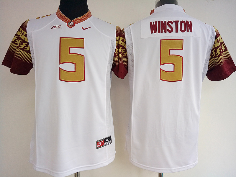 Florida State Seminoles 5 Jameis Winston White College Football Jersey