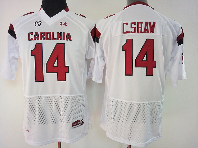 South Carolina Gamecocks 14 C.Shaw White College Football Jersey