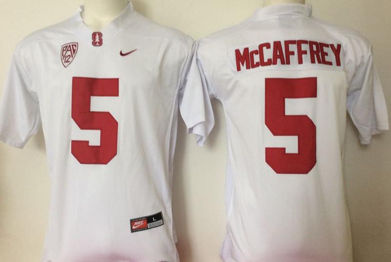 Stanford Cardinal 5 Christian McCaffrey White College Football Jersey