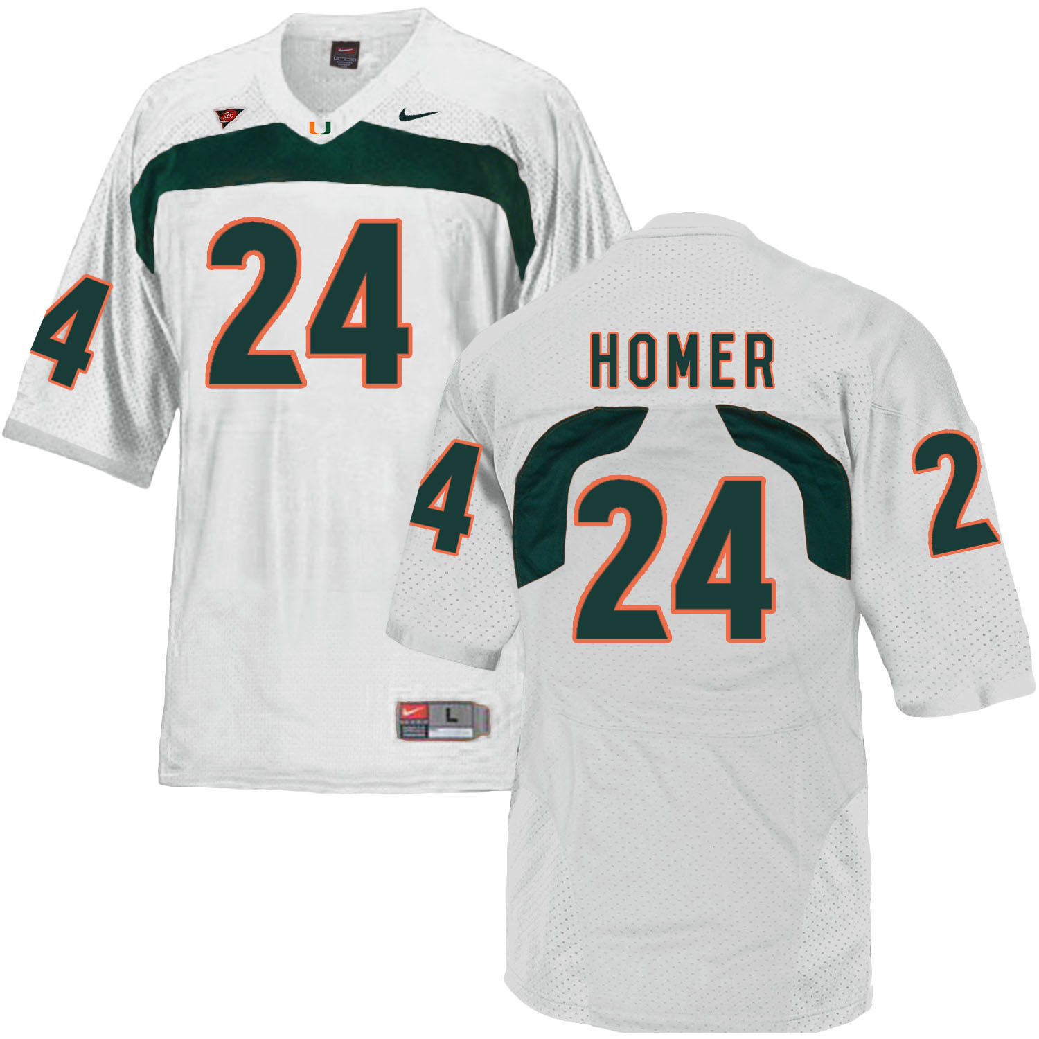 Miami Hurricanes 24 Travis Homer White College Football Jersey