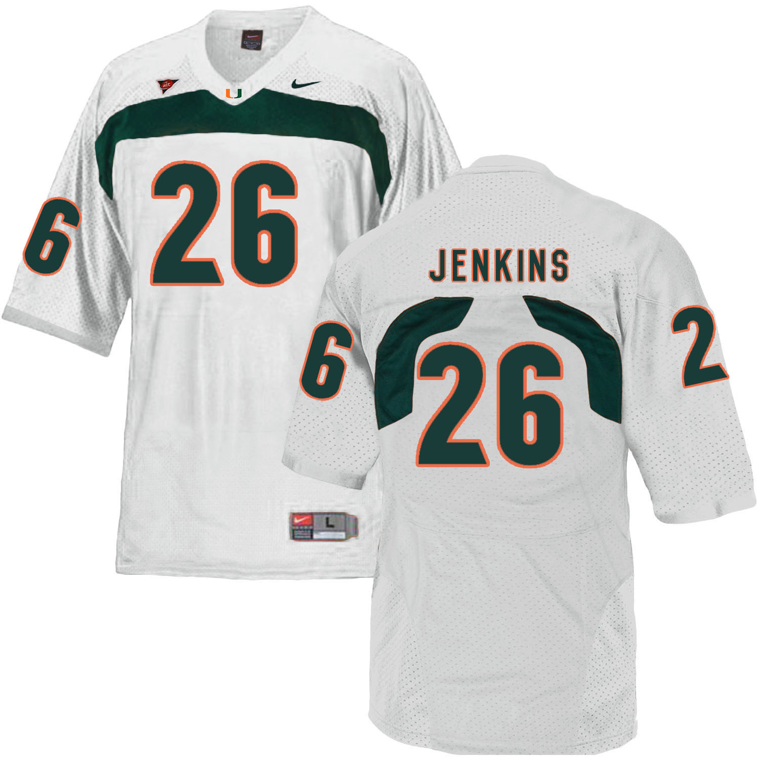 Miami Hurricanes 26 Rayshawn Jenkins White College Football Jersey