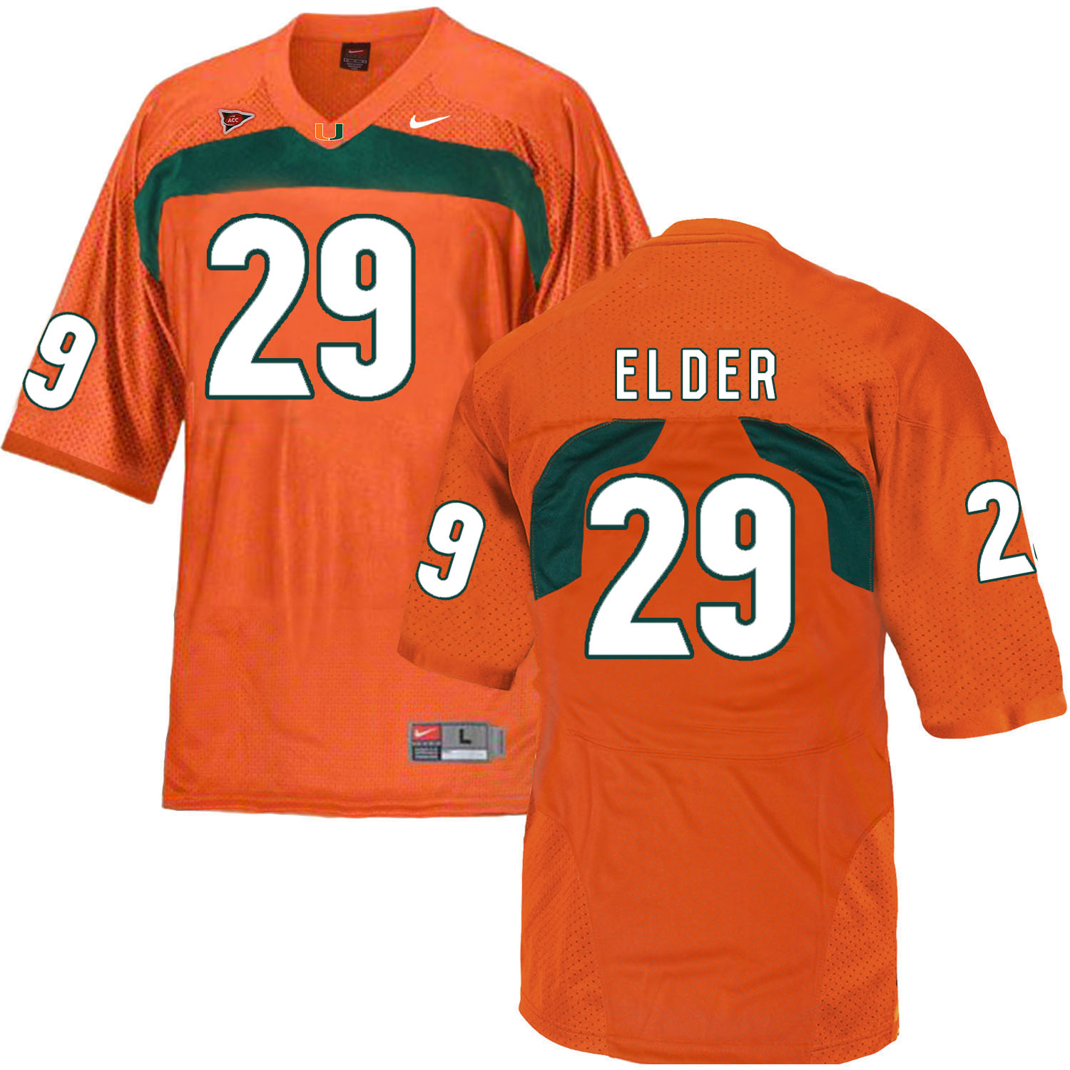 Miami Hurricanes 29 Corn Elder Orange College Football Jersey