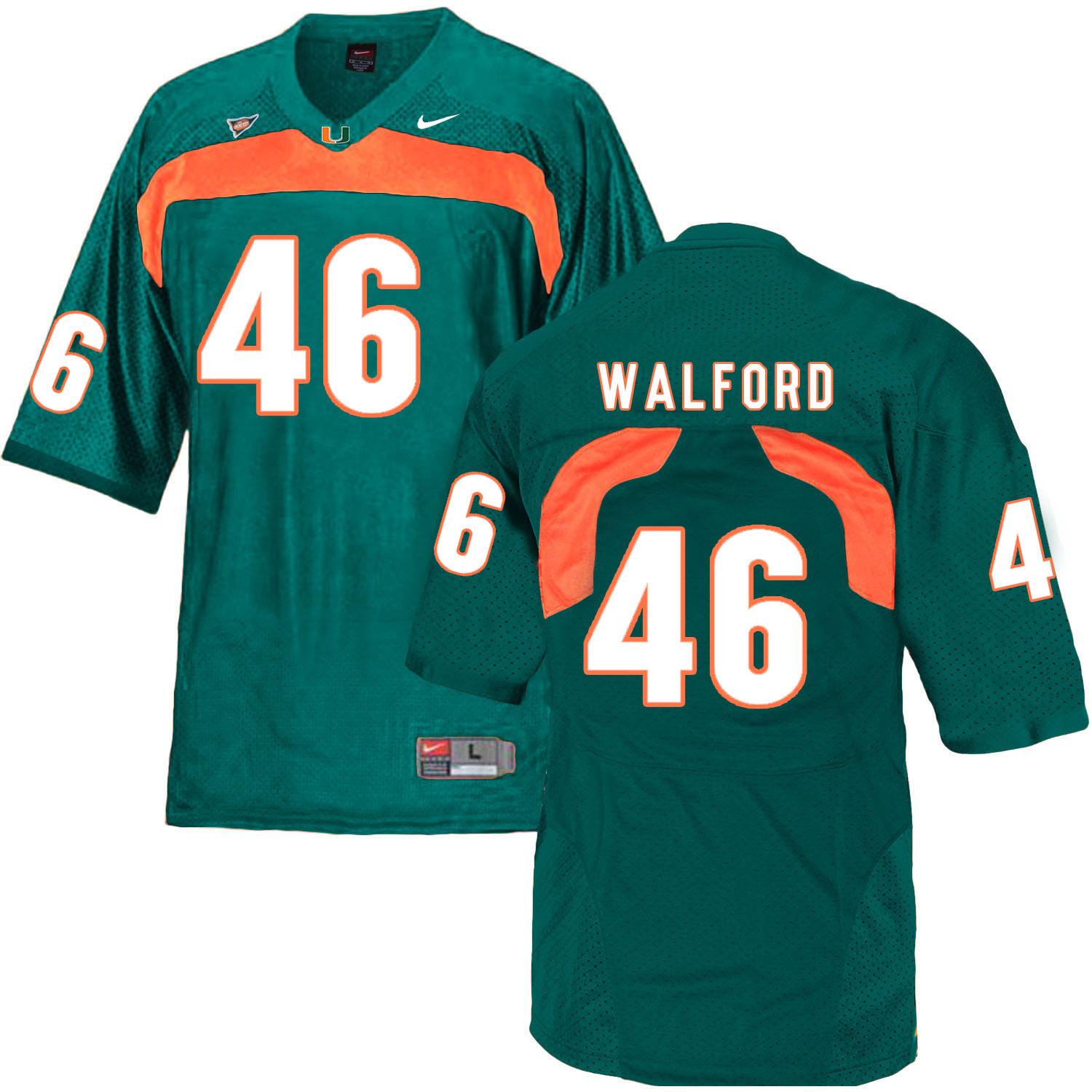Miami Hurricanes 46 Clive Walford Green College Football Jersey