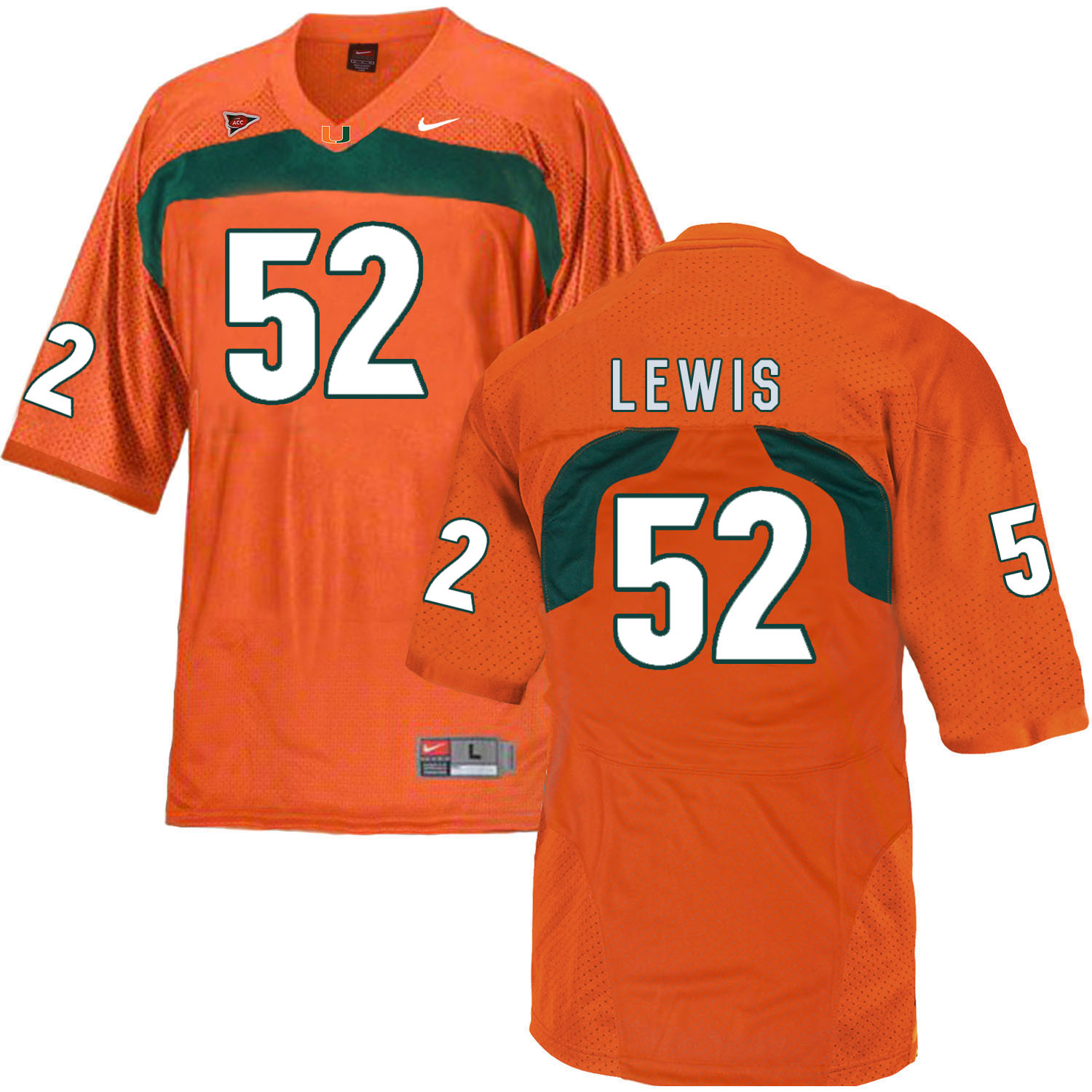 Miami Hurricanes 52 Ray Lewis Orange College Football Jersey