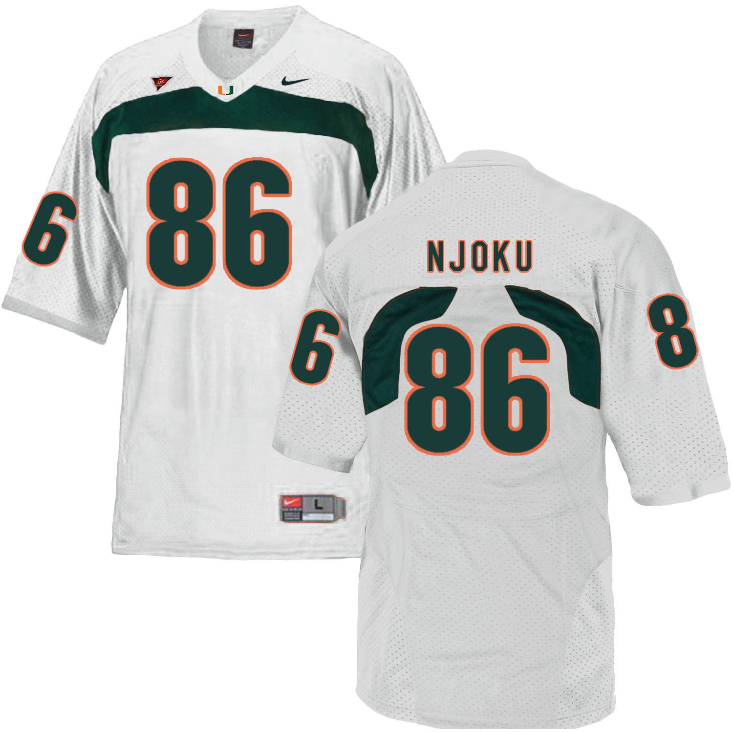 Miami Hurricanes 86 David Njoku White College Football Jersey