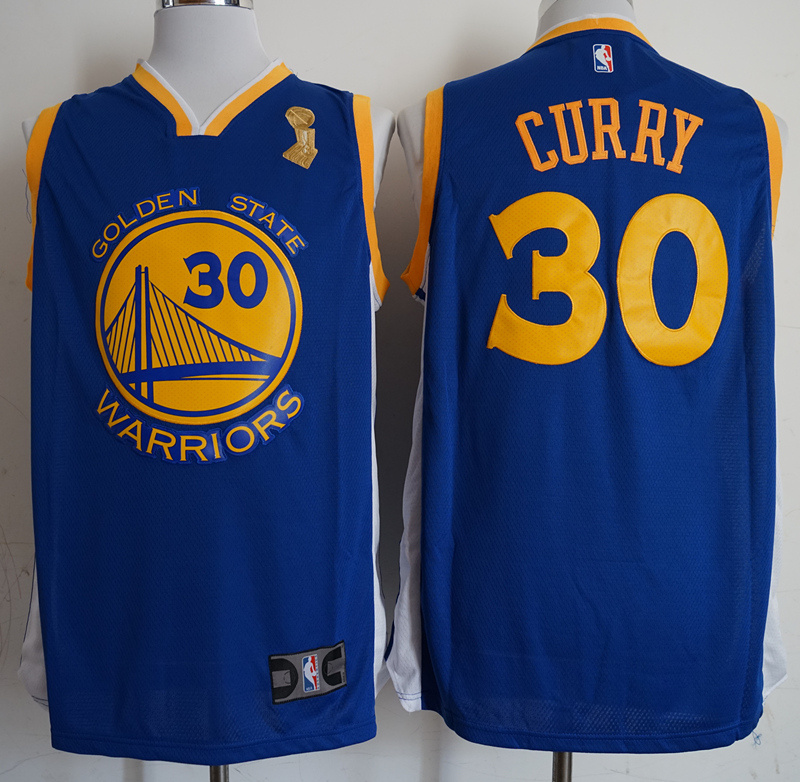 Warriors 30 Stephen Curry Blue 2018 NBA Finals Champions Swingman Jersey