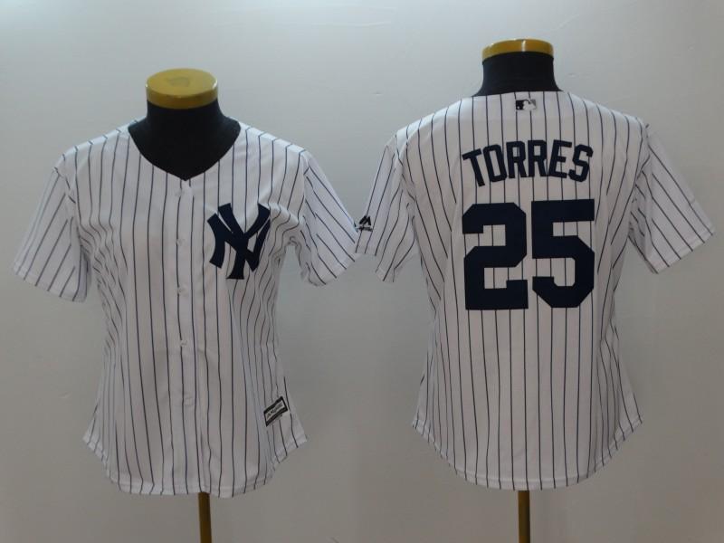 Yankees 25 Gleyber Torres White Women Cool Base Jersey