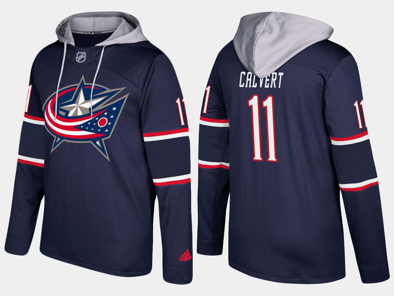 Nike Blue Jackets 11 Matt Calvert Name And Number Navy Hoodie