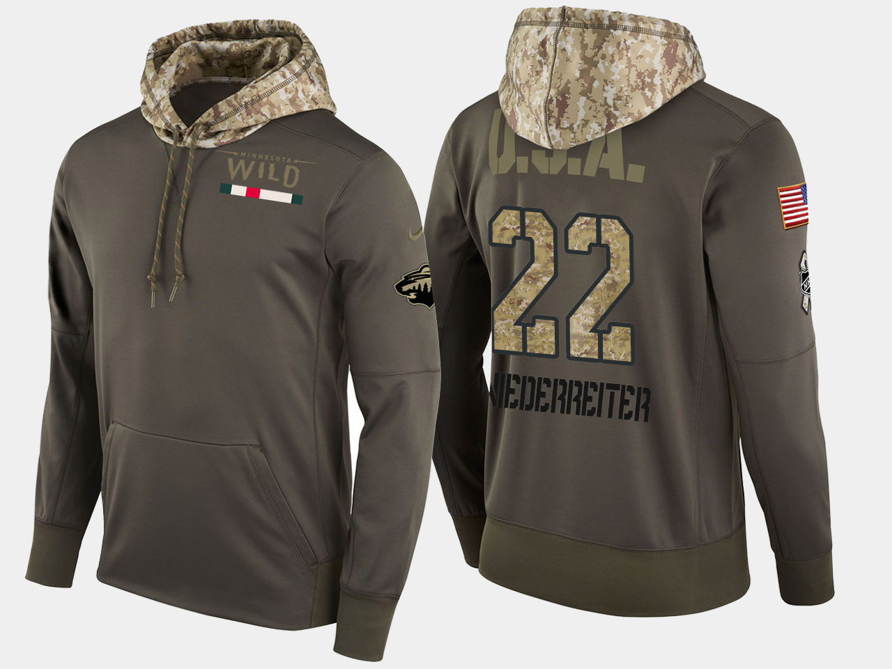 Nike Wild 22 Nino Niederreiter Olive Salute To Service Pullover Hoodie