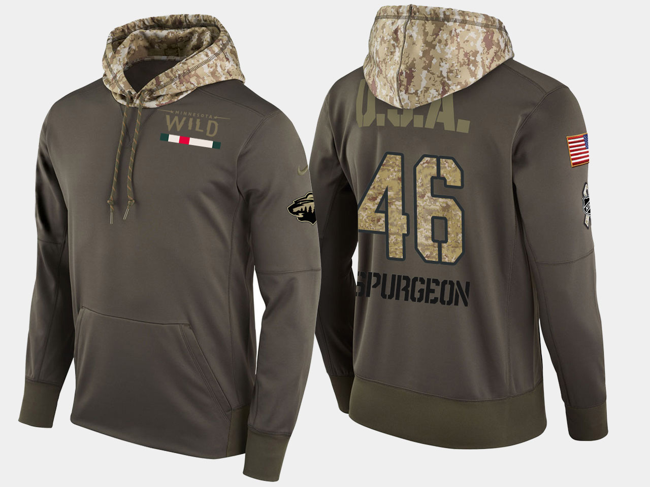 Nike Wild 46 Jared Spurgeon Olive Salute To Service Pullover Hoodie